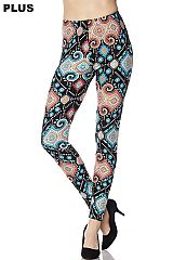 PLUS Multi Pattern Print Yummy Brushed Ankle Leggings