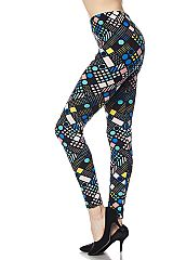 Multi Mosaic Print Yummy Brushed Ankle Leggings