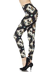 Elephant Diamond Print Ankle Leggings