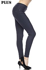 PLUS: Premium Denim Back Pocket Ankle Leggings.