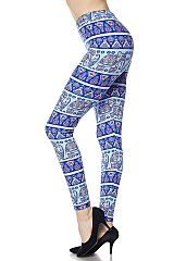 Elephants Playground Print Ankle Leggings