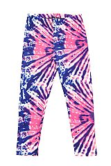 KIDS Pink Blue Spiral Tie Dye Print Leggings