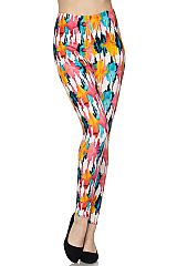 Colorful Waterpaint Print Ankle Leggings