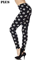 PLUS Smiley Panda Print Ankle Leggings