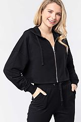 Cotton Blend Cropped Hooded Jacket