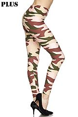 PLUS Underground Camo Print Ankle Leggings