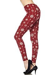 Christmas Snowflakes Yummy Brushed Ankle Leggings