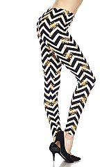 Chevron Snowflakes Yummy Brushed Ankle Leggings