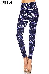 PLUS Blue Whale Print Brushed Leggings
