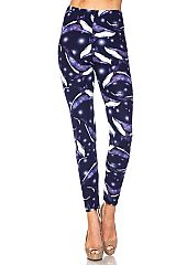 Blue Whale Print Brushed Leggings