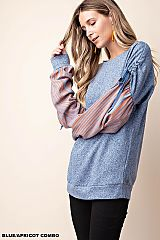 Stripe Contrast Bishop Sleeve Knit Top