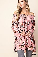 Floral Print Shirred Elastic Off Shoulder Tunic