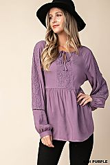 Bishop Sleeve Lace Contrast Babydoll Top