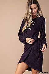 Solid Wrap Tulip Knit Dress