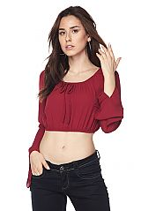 Solid Tie Neckline Long Bell Sleeves Crop Top