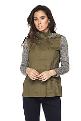Hooded Safari Jacket With Knit Contrast
