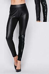 Fur Lined Faux Leather Leggings W/ Print
