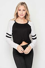 Front Twist Contrast Long Sleeve Baseball Top