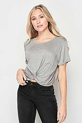 Solid Knotted Crop Top