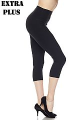 XPLUS Solid Capri Leggings with 5 Inch Waistband