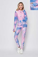 Tie Dye Active Zip Up Jacket Set With Thumb Hole