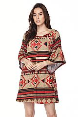 Aztec Print Bell Sleeves Knit Dress
