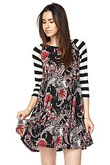 PLUS: Paisley Print Swing Dress with Striped Sleeve