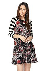 Paisley Print Swing Dress with Striped Sleeves