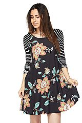 PLUS: Floral Print Swing Dress with Striped Sleeves