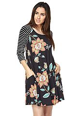 Floral Print Swing Dress with Striped Sleeves
