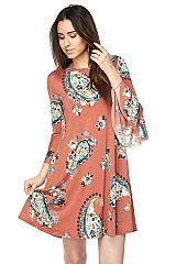 PLUS: Floral Print Shift Dress with Unfinished Slit Bell Sleeve